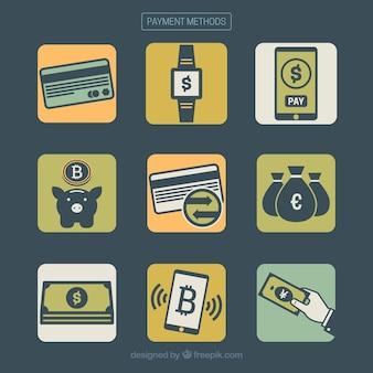 現代の支払い方法のパック