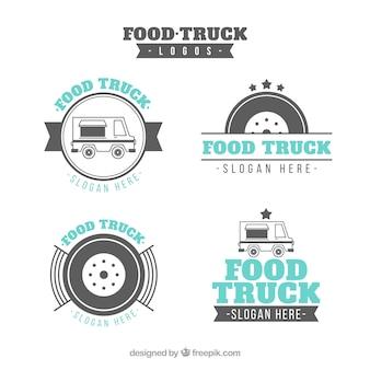 古典的なスタイルの食品トラックのロゴのエレガントなパック