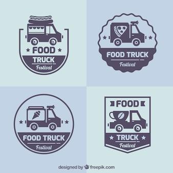 レトロスタイルの食品トラックのロゴ