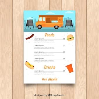 カラフルな食品トラックのメニューテンプレート