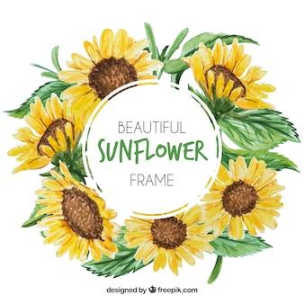 水彩のひまわりの丸い花のフレーム