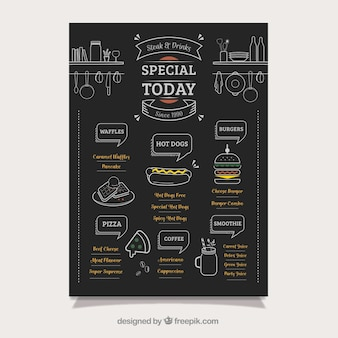黒板にエレガントな食品トラックのメニュー