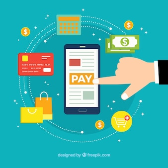 スマートフォンと支払い方法によるフラットな構成