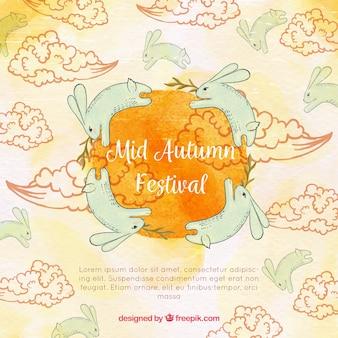 手描きのウサギ、中秋祭
