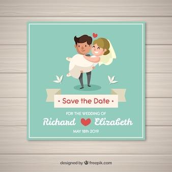 幸せなカップルと素敵な結婚式の招待状
