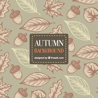 芸術的なスタイルで手描きの秋の背景