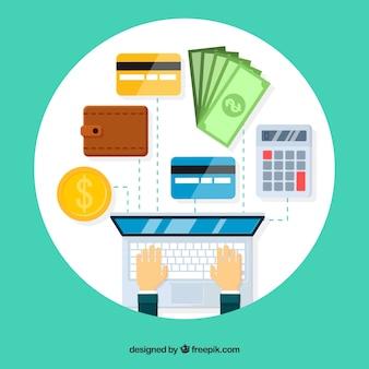 Состав с ноутбуком и платежными элементами