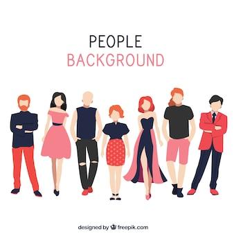 Плоский фон с людьми моды