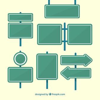 Пакет адресных плакатов в плоском дизайне