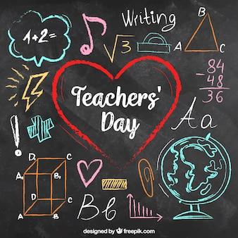 チョークボード上に色とりどりのチョークで書かれた教師の日