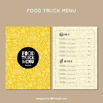 手描きのパターンで食品トラックのメニュー