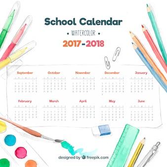 水彩画の学校のカレンダー
