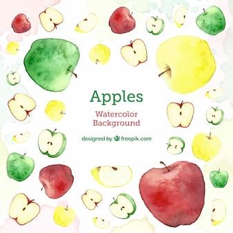 さまざまな種類のリンゴを持つ「おいしい」背景
