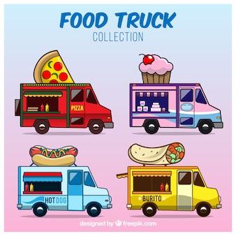 Красочная упаковка грузовиков для веселых продуктов