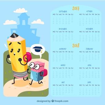 Школьный календарь с веселыми персонажами