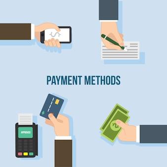 古典的な支払い方法のパック