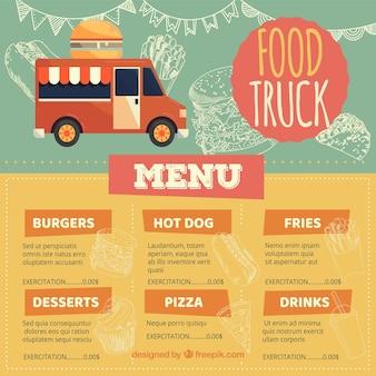 Современное меню грузовых автомобилей с фаст-фудом