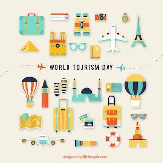 観光の要素が楽しいフラットなコンポジション