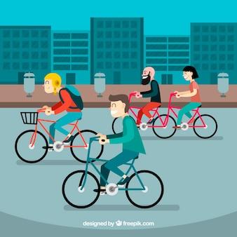 都市でサイクリングする人々の背景