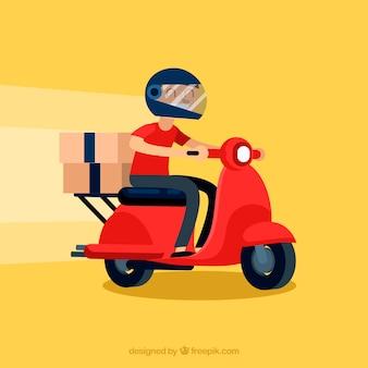Современный человек доставки с шлемом
