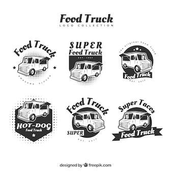 オリジナルスタイルの現代的な食品トラックのロゴ