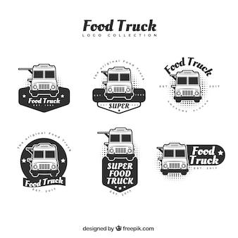 プロのスタイルによる食品トラックのロゴコレクション