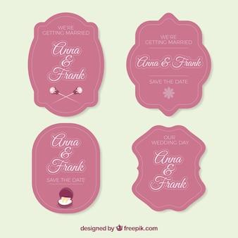 Розовый пакет старинных свадебных наклеек