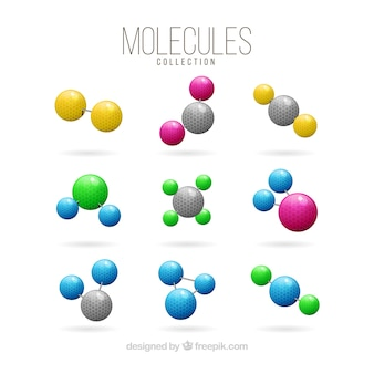 Коллекция цветных молекул
