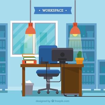 Плоское рабочее пространство с элегантным стилем