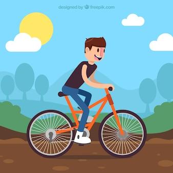 Фон мальчика на велосипеде в плоском дизайне