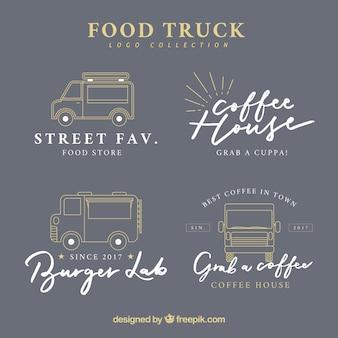 エレガントなヴィンテージの食品トラックのロゴのセット