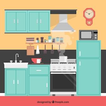 キッチンインテリアイラスト