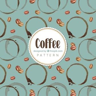 Шаблон сделан из кофейных зерен