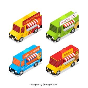 Пакет грузовых автомобилей с изометрической перспективой