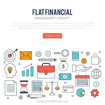 モダンスタイルのフラットな金融コンセプト