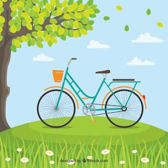 自然の中のクラシックバイク