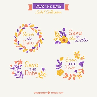 Красочный набор цветочных свадебных наклеек