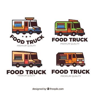 手描きの食品トラックのロゴのカラフルなパック
