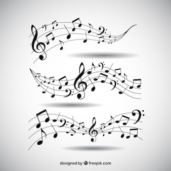 Пакет пентаграмм и музыкальных нот