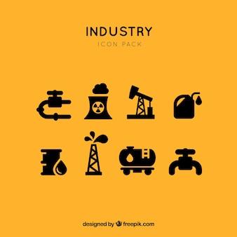 Промышленные ископаемого топлива значок векторный набор