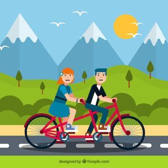 スマイルなカップルの乗り物バイクとフラットデザイン