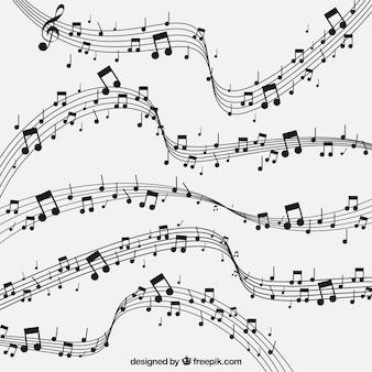 Абстрактный фон пентаграмм и музыкальных нот