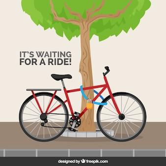 ロックと木製の自転車