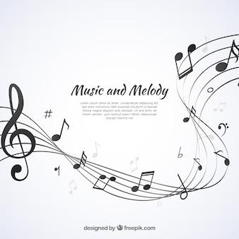 楽譜を持つ抽象的な五芒星の背景