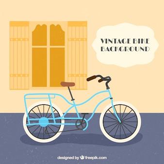 レトロな自転車で平らな背景