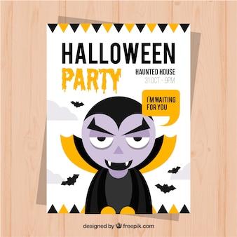 Мультяшный вампир, приглашающий на вечеринку на хэллоуин