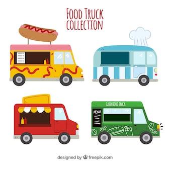 楽しい食べ物トラックのフラットなコレクション