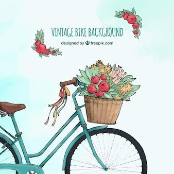 花の水彩のヴィンテージバイク