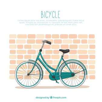 レンガの壁のあるクラシックバイク