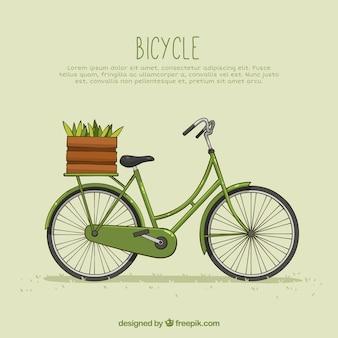 バスケットと野菜を持つヴィンテージバイク